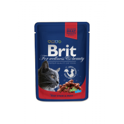 Brit Premium Cat tasakos marhapörkölttel és borsóval